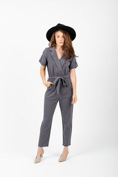 2a8fe1af830c The Owen Collared Jumpsuit in Slate