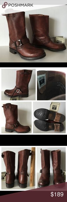 """FRYE VERONICA SHORT DISTRESSED LEATHER BOOT SIZE 6 FRYE Veronica Shortie  -Condition: Brand New Without Box. -Size: US Size 6. -Model: Veronica Shortie. -Color: Cognac Distress Stone Wash. -Heel Height: 1"""". -Weight: 1 lb 3 oz. -Circumference: 13.5"""". -Distressed Leather Upper. -Rubber sole. -Shaft measures approx.: 9"""". -Cushioned foam insole -Hand Made Frye Boots. -Retails for $325.00 -Same Day Shipping. Frye Shoes Combat & Moto Boots"""