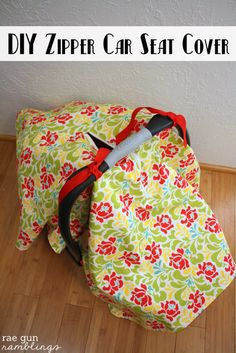 Easy tutorial for how to make a car seat cover with optional zippered peep hole - Rae Gun Ramblings
