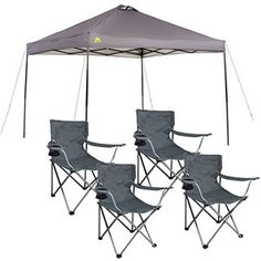 Ozark Trail Instant 10x10 Straight Leg Canopy with 4 Folding Quad Arm Chairs Value Bundle