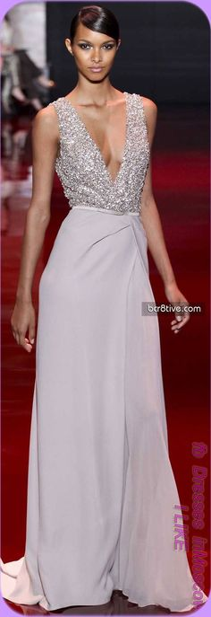 Deep V sleeveless sparkle & chiffon dress