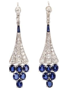 Diamond and Sapphire Earrings 18 Karat White Gold 6.86 Carat