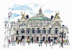 "James Richards, ""Palais Garnier, Paris"" Framed Art Print by Urban Sketchers Opera Garnier Paris, James Richards, City Sketch, Pen Sketch, Concept Draw, New Architecture, Artist Journal, Second Empire, Watercolor Landscape"
