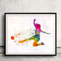 Woman soccer player 11 in watercolor - Fine Art Print Glicee Poster Home Watercolor sports Gift Room Illustration Wall - SKU 2323 by Paulrommer on Etsy