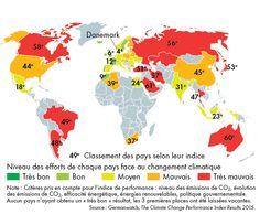 "Efforts of each country to avoid climate change. Denmark is 4th in rank and the 3 top places are vacant, because there is no 'very good' pupil… Map created by Hugues Piolet for ""Atlas du climat"", éditions Autrement."