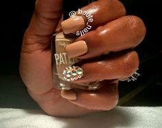 Acrylic nails with rhinestone detail