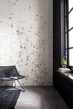 Concrete wall wall paper by dutch design diy store Karwei. Wabi Sabi, Pretty Things, Wall Design, House Design, Distressed Walls, Industrial Interiors, Inspiration Wall, Wall Wallpaper, Textured Walls