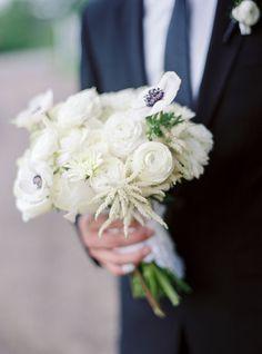white wedding bouquet with anemones.
