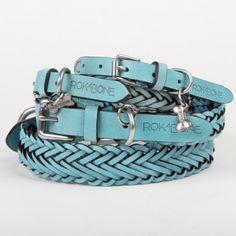 Lucky sky blue leathe dog collar - rokabone