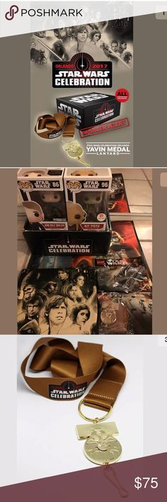 Star Wars Celebration 40th LOT Shirt Yavin Funko I accept all reasonable offers**  STAR WARS CELEBRATION 40th ANNIVERSARY!  Nerd Block & ReedPOP made Star Wars Celebration available to all those who couldn't make the convention. Also I have LootCrate & Walgreens Funko Pop exclusives & Lego! BRAND NEW!  • Star Wars Celebration 40th t-shirt in Adult Small • Star Wars Celebration 40th Yavin Medal Lanyard • LootCrate Han Solo (Snow Gear) Funko Pop • Walgreens Kit Fisto Funko Pop (back of box has…