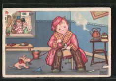 carte postale ancienne: CPA Illustrateur Margret Boriss: Junge malt alleine Kaffebohnen