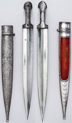 Caucasian (possibly northern Dagestan) qama dagger, ca. 1840–50, steel, wood, silver, niello, L. with sheath 23 1/8 in. (58.7 cm); L. of sheath 18 3/4 in. (47.6 cm); W. 2 1/8 in. (5.4 cm); Wt. 20.8 oz. (589.7 g); Wt. of sheath 12 oz. (340.2 g), Met Museum.