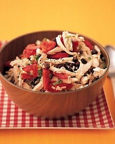 To make a Southwestern-style salad that's a meal in itself, toss together chicken, rice, beans, and tomatoes with a light, spicy dressing.