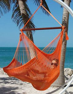 Hanging Caribbean Extra Large Hammock Chair 48 Inch Oranger Polyester Hanging Chair Max Weight: 330 Pounds by Andymacrame on Etsy