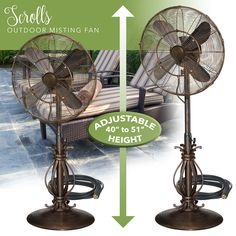 Outdoor Misting Fan - 3 Speed - All Weather Pedestal Fan with ...