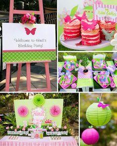Butterfly Garden themed birthday party Full of Really Cute Ideas via Kara's Party Ideas Kara Allen KarasPartyIdeas.com #ButterflyParty #Girl...