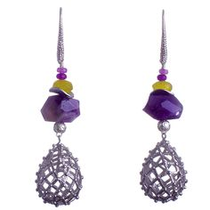 """$99 free global shipping & returns N°236 Rogue birds nest Palace Statement Earrings  If South African weaverbirds were given silver to weave their architectural masterpieces – maybe their bird nests would look like this.  In this case, however, the silver-plated """"bird nests"""" come from Seoul, complimented with Russian Amethyst, Canadian Jade and Lemon Jade from Hong Kong to give rise to sultry hand-crafted statement earrings. One of a kind piece - handcrafted in Australia Approximately 7 cm…"""