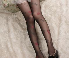 Wholesales Personalized Sexy Red Lips Print Tattoo Pantyhose Stockings For Woman $19.90