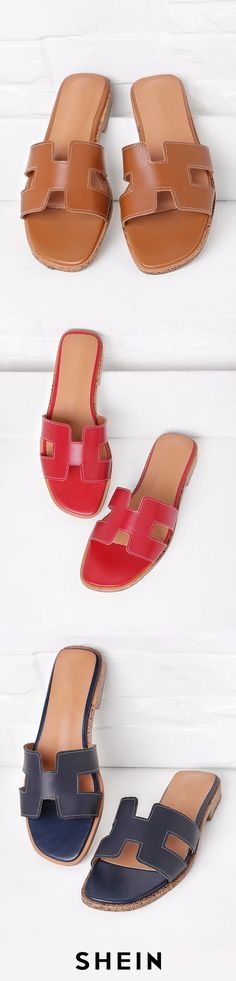 22cd94da0dad PU Cutout Design Sliders · Comfy ShoesFab ShoesHermes ...