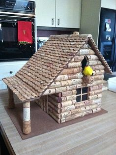 Wine cork birdhouse made by my super talented father-in-law.  How cool is that??