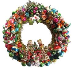 April makes a wreath using 10 vintage Christmas corsages — gorgeous!