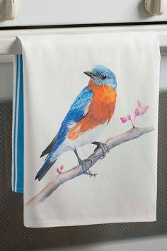 Bluebird Watercolor Tea Towel Retro Modern by Lore by Paperlore