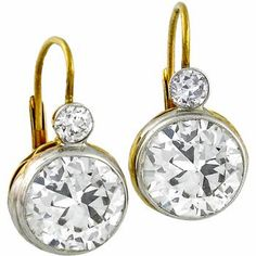 Antque 5.81ct Old Mine Cut Diamond 18k Yellow Gold & Platinum Dangling Earrings - See more at: http://www.newyorkestatejewelry.com/earrings/victorian-5.81ct-diamond-dangling-earrings/24763/5/item#sthash.8BgAbHdc.dpuf