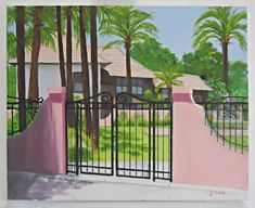 Hot pink stucco house nestled in palm trees, red barrel tile roof. no local pick up. Art Paintings For Sale, Original Paintings, Pink Painting, Pink Art, Tropical Houses, Naive, Caribbean, The Outsiders, Folk
