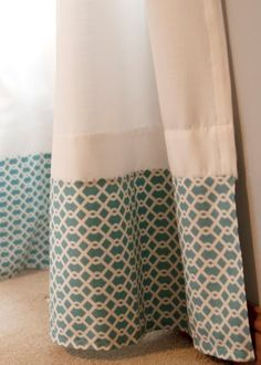 Attach fabric along the bottom of curtains to turn basic panels into custom treatments. This is also a great idea if you have curtains that are too short for your windows. Add and overlap to create the right length. by ashleyw