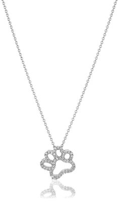 Sterling Silver Swarovski Zirconia Dog Paw Pendant Necklace, 18' *** You can find out more details at the link of the image.