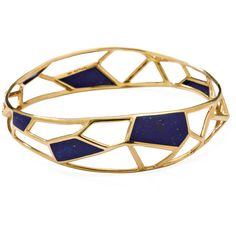 IPPOLITA 18K Gold Polished Rock Candy Open Deco Bangle in Lapis ($2,495) ❤ liked on Polyvore featuring jewelry, bracelets, gold, gold hinged bangle, gold bracelet bangle, 18 karat gold jewelry, gold bangles and ippolita bangles
