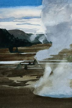 detail, Morning, Yellowstone, watercolor by Eva Bartel