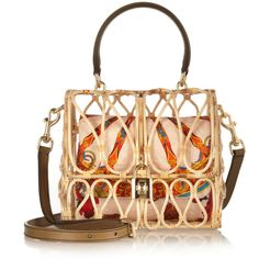 Dolce & Gabbana Leather-trimmed rattan shoulder bag featuring polyvore fashion bags handbags shoulder bags purses dolce & gabbana borse neutrals multi colored handbags multi color handbag brown shoulder bag colorful purses floral purse