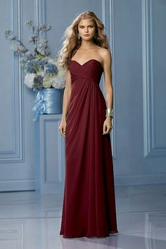 Perfect for a fall wedding Wtoo 491 Bridesmaid Dress Classic Bridesmaids Dresses, Bridesmaids And Groomsmen, Wedding Bridesmaid Dresses, Wedding Gowns, Prom Dresses, Cranberry Bridesmaid Dresses, Long Dresses, Isabelle, Bridesmaids