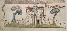 The Smithfield Decretals (1300-1340):  Illumination of a castle being defended by a sword-wielding woman.   Looks like the guy on the ladder is having a really bad hair day.  Bigger picture at source.