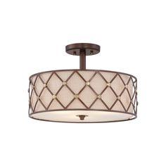 Brown Lattice Semi-Flush Ceiling Light - Elstead Lighting QZ/BROWNLATT/SF