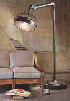 Covington*Design: The Shabby - Industrial Look - Vintage - Floor - Lamp Lampe Industrial, Industrial Style Lamps, Industrial Flooring, Modern Industrial, Industrial Furniture, Vintage Industrial, Industrial Design, Industrial Industry, Industrial Interiors