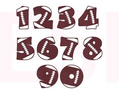 Sports, Football Numbers (SVG, DXF, EPS & PNG Format)