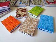 Cuadernos tamaño A6 realizados con encuadernación copta / Coptic bindind A6 notebooks