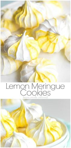 These easy Lemon Meringue Cookies, or egg white cookies, are made from egg whites whisked into a stiff meringue and baked until they are slightly crunchy on the outside and soft in the middle. This easy meringue cookies recipe can be adapted to any flavor Egg White Dessert, Oreo Dessert, White Desserts, Köstliche Desserts, Delicious Desserts, Meringue Desserts, Dessert Recipes, Lemon Desserts, Lemon Meringue Cookies