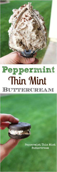 Homemade Peppermint Thin Mint Buttercream sandwiched between 2 Thin Mints....the best!!