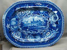 "17"" Dark Blue Staffordshire Transferware Platter GYRN FLINTSHIRE WALES Ca 1825"
