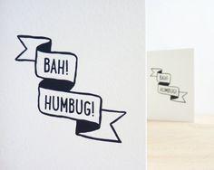 Bah! Humbug! // Letterpress Card by Sarah Phelps Creative £3.00