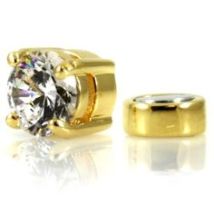 Men's Solitaire Stud Non Pierced Magnetic Earring (1/2 CT Round Cut) - Clear/Gold . $22.50