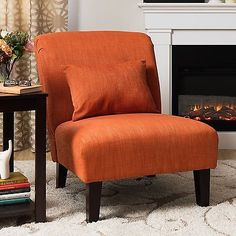 Vintage Style Accent Chair Arm Less Burnt Orange 70's Style Uphostered Studio