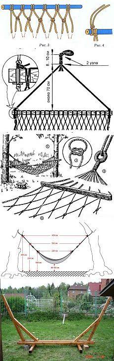 Как самостоятельно сделать надежный и удобный гамак своими руками в домашних условиях из подручных материалов. Технологии изготовления самодельных гамаков с наглядными чертежами и схемами конструкций - Режем, пилим, сверлим, шлифуем и ...
