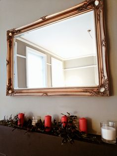 Holly tree Christmas decorations #hollytree #decorations #christmas #candles #mirror