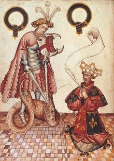 William Bruges dressed as Garter King of Arms, kneels before St George, from his Garter Book