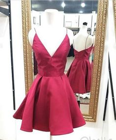 Burgundy homecoming dress,a line homecoming dress,halter party dress,50602