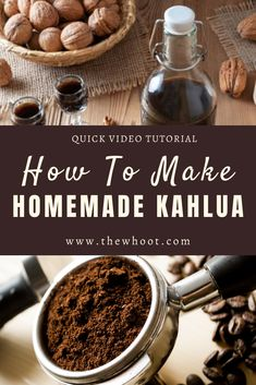 This Easy Homemade Kahlua Recipe is the best ever and is easy and simple to make. It also tastes identical to the real thing. Homemade Liqueur Recipes, Kahlua Recipes, Homemade Kahlua, Homemade Alcohol, Homemade Liquor, Coffee Recipes, Wine Recipes, Yummy Drinks, Yummy Food
